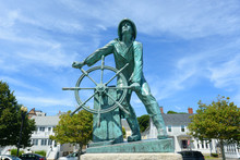 Gloucester Fisherman's Memorial (a.k.a. Man At The Wheel) Located Near The Entrance Of Gloucester, Massachusetts, USA.