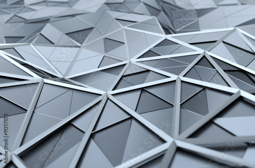 Abstract 3D Rendering of Low Poly Chrome Surface.