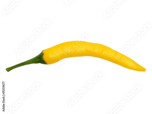Deurstickers Hot chili peppers yellow hot chili peppers isolated on white background