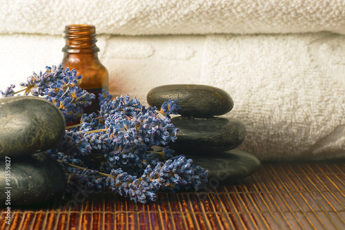 Lavender, stones and oil - 91359827