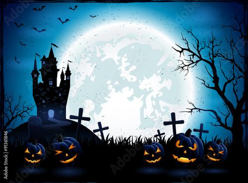 Halloween pumpkins and dark castle © losw100