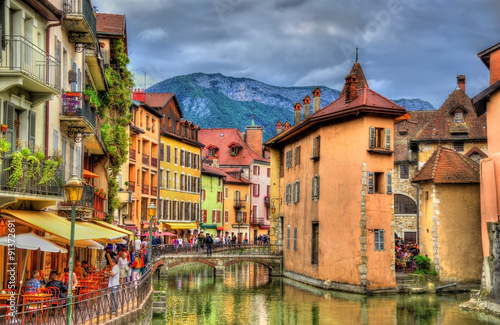 View of the old town of Annecy - France Canvas Print