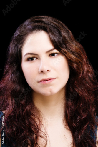 Fotografia, Obraz  Portrait Attractive Brunette Caucasian Woman Black Background
