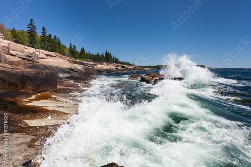 Fotografie, Obraz  Waves crashing along the coast of Acadia National Park in Maine