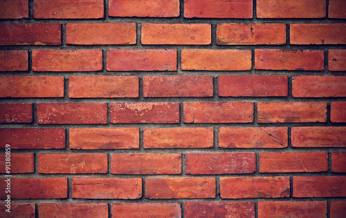 Photo grunge red brick wall background