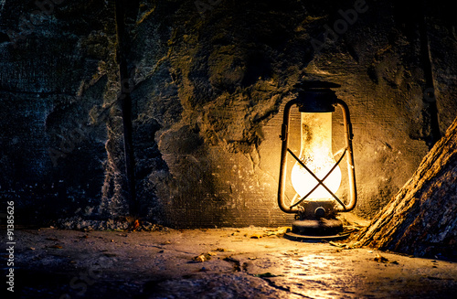Old lamp in a mine Canvas Print
