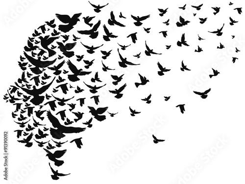 Obraz doves flying away with human head - fototapety do salonu