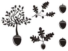 Oak Acorn Silhouettes Set