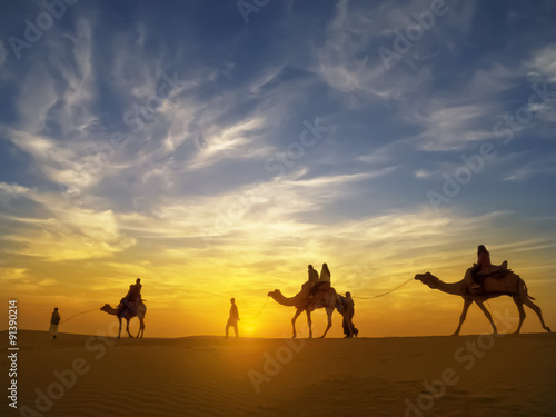 Spoed Fotobehang Kameel Beautiful sunset at Thar desert ,Jaisalmer,India