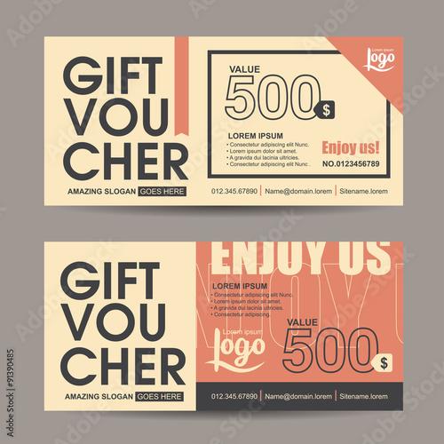 gift voucher template with vintage pattern retro gift voucher