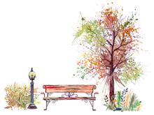 Autumn Background With Splash Tree