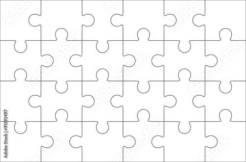 Fotografia  Jigsaw puzzle blank 6x4 elements, twenty four vector pieces.
