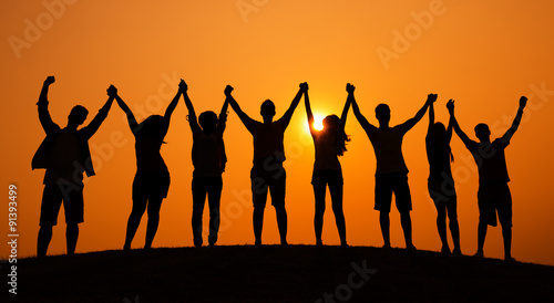 Photo  Group Of People Celebration Cheerful Sunset Concept