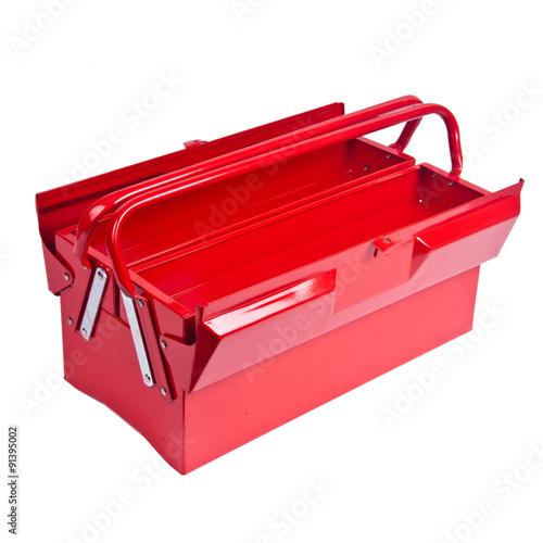 Fototapeta Red metal toolbox isolated on white obraz na płótnie