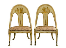 Pair Antique Vintage Painted Egyptian Style Chairs Isolated On W