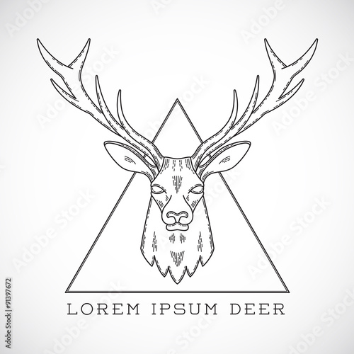 Abstract Vector Line Style Deer Face Illustration in Triangle