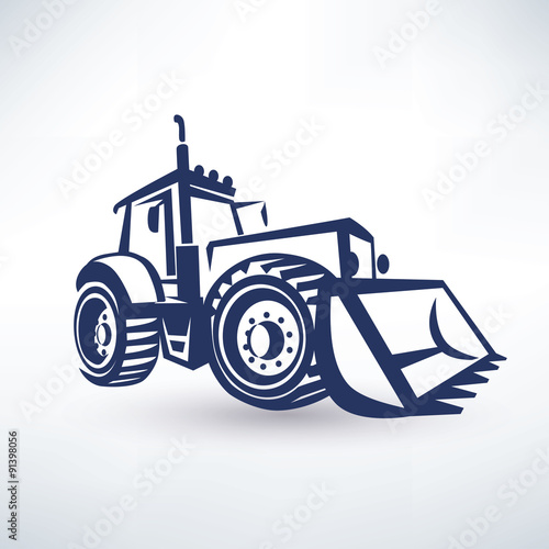 tractor stylized vector symbol, isolated silhouette плакат