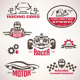 race cars, racing emblem and label set, vector symbols collectio