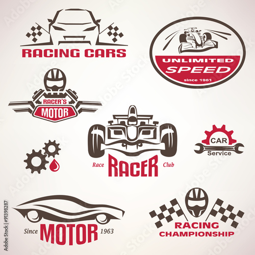 Foto op Plexiglas F1 race cars, racing emblem and label set, vector symbols collectio