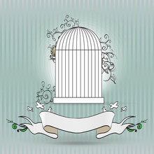 Vintage Birdcage With Ribbon For Text Vector