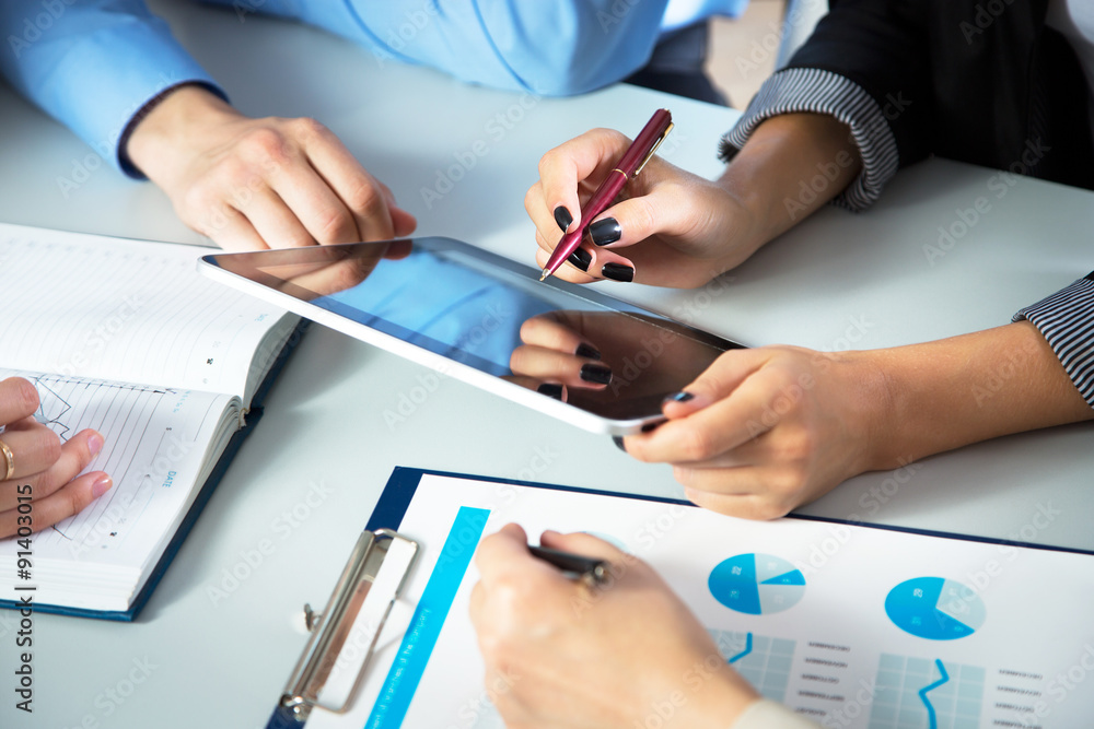 Fototapeta Businesspeople analyzing financial data