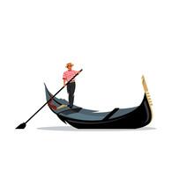 Venice Gondola, Gondolier Rowing Oar Sign. Vector Illustration.
