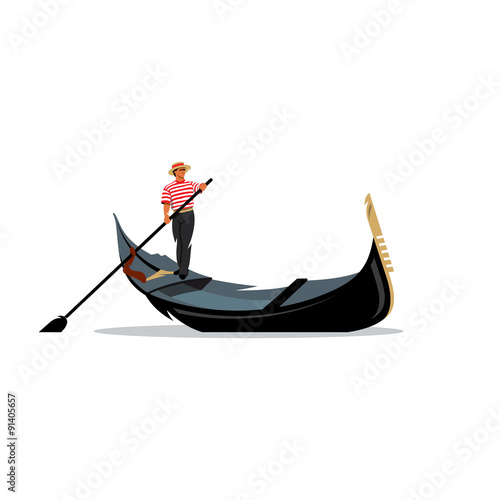 Tablou Canvas Venice gondola, gondolier rowing oar sign. Vector Illustration.