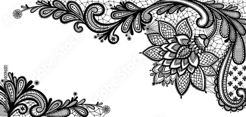 Fotografie, Tablou  Black lace vector design.