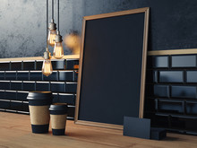 Table With Blank Black Elements And Retro Lamps. 3d Rendering