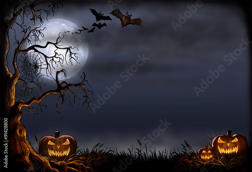 Spoed Fotobehang Halloween Creepy Halloween Scene - Digital Illustration