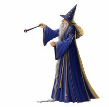 Magical Wizard Illustration Isolated On A White Background.