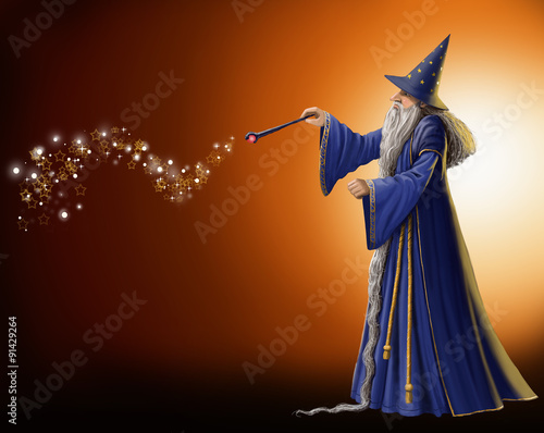 Magical Wizard Illustration Canvas Print
