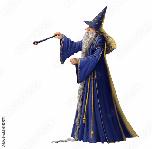 Magical wizard illustration isolated on a white background. Wallpaper Mural