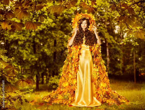 Fotografie, Obraz  Autumn Fairy Woman, Nymph Yellow Leaves Dress, Goddess Earth