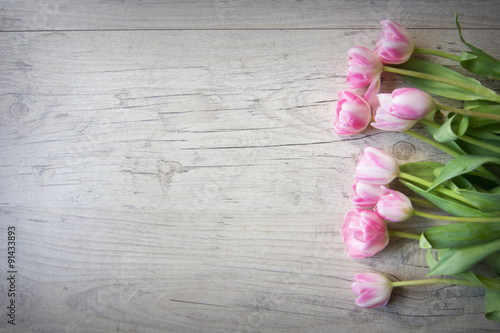 Recess Fitting Tulip Tulips on a wooden background
