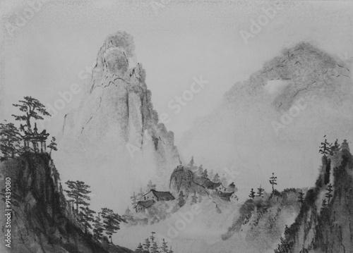 Aluminium Prints Dark grey Chinese painting Mountain
