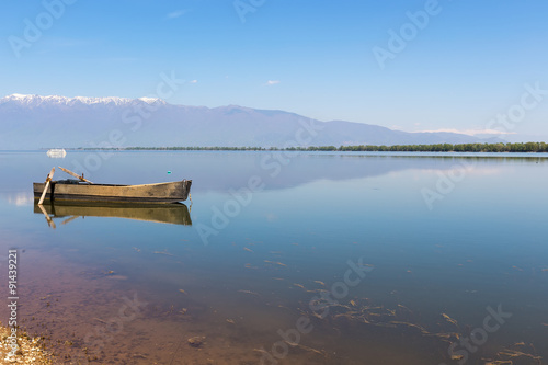 Boat at Kerkini lake in Serres, in Greece Canvas Print