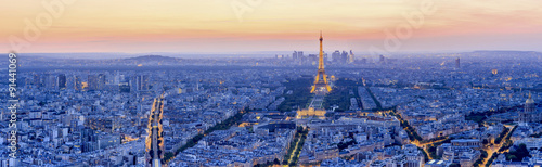 Photo sur Toile Paris The Eiffel tower is the most visited monument of France.