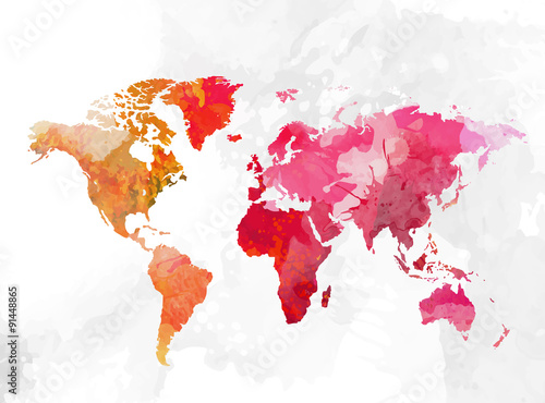 Photo  World map watercolor background vector illustration