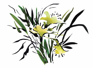 Panel Szklany Natura Watercolor garden flowers isolated on white background, Japanese