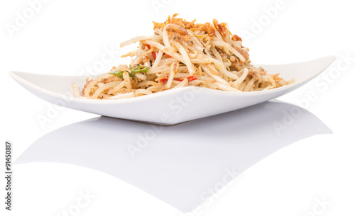 Papiers peints Plat cuisine Malaysian dish bean sprout salad or local name Kerabu Taugeh in a white plate over white background