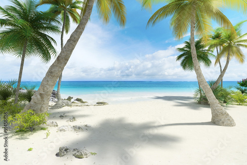 Staande foto Strand Empty tropical beach