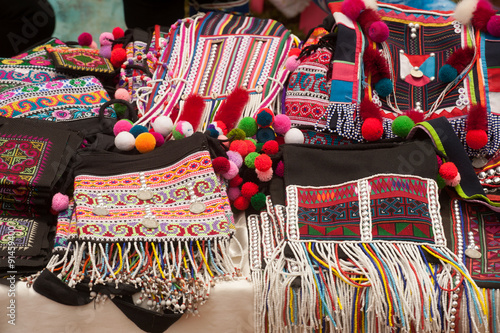 Colorful clothes of Mein minority hill tribe in Thailand. Wallpaper Mural