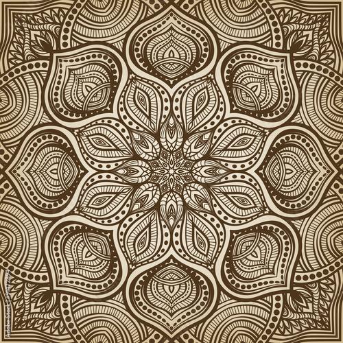 Plakat mandala. brązowy okrągły wzór tła