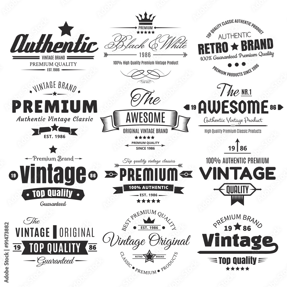 Fototapety, obrazy: Twelve Vintage Insignias Or Labels