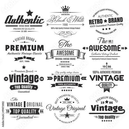 Twelve Vintage Insignias Or Labels Wall mural