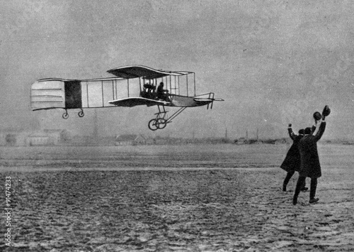 Henri Farman winning the Archdeacon Prize with Voisin biplane (1908) Wallpaper Mural