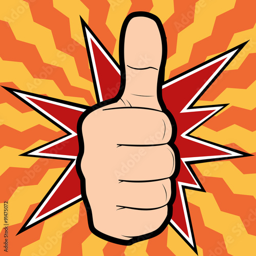 Valokuva  Vector illustration of a hand showing thumbs up