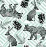 hand drawn winter trendy pattern, geometric background - 91475655