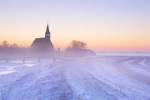 Church In Winter At Sunrise, Oudendijk, The Netherlands